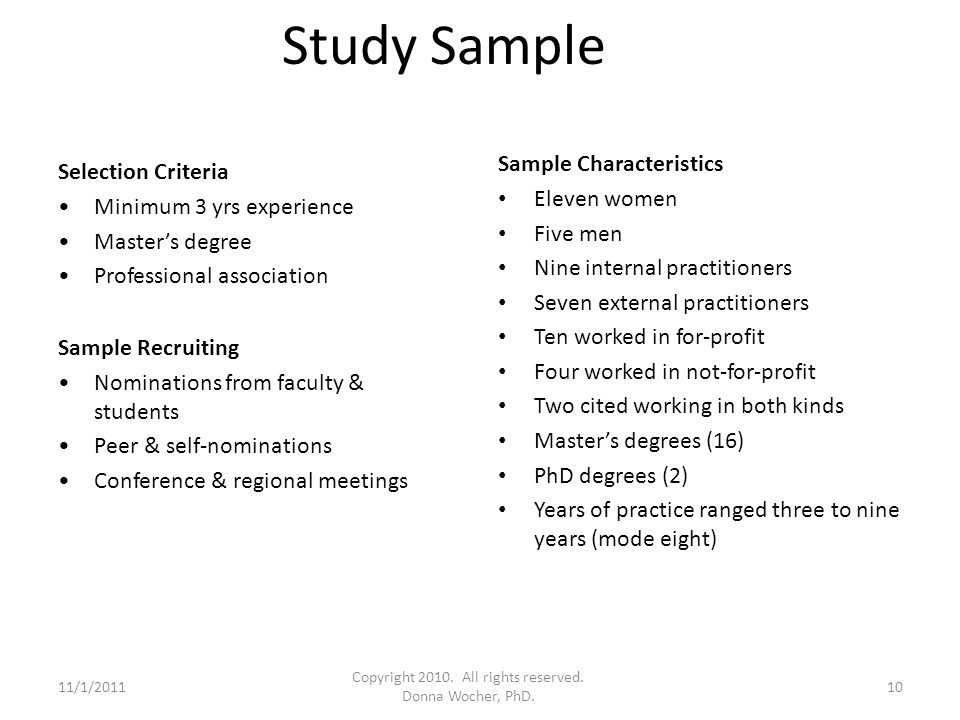 Study Sample Selection Criteria Minimum 3 yrs experience Master's degree Professional association Sample Recruiting Nominations from faculty & students Peer & self-nominations Conference & regional meetings Sample Characteristics Eleven women Five men Nine internal practitioners Seven external practitioners Ten worked in for-profit Four worked in not-for-profit Two cited working in both kinds Master's degrees (16) PhD degrees (2) Years of practice ranged three to nine years (mode eight) 11/1/201110 Copyright 2010.