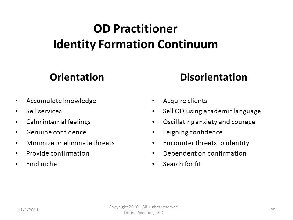 OD Practitioner Identity Formation Continuum Orientation Accumulate knowledge Sell services Calm internal feelings Genuine confidence Minimize or elim