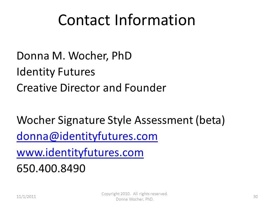 Contact Information Donna M.