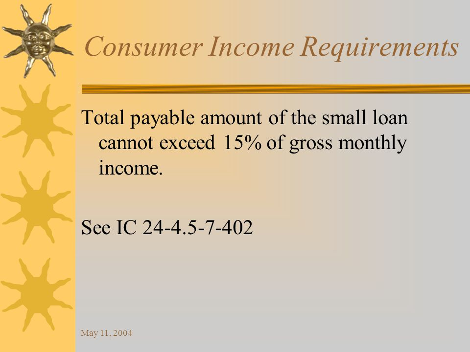 May 11, 2004 Consumer Income Requirements Total payable amount of the small loan cannot exceed 15% of gross monthly income.