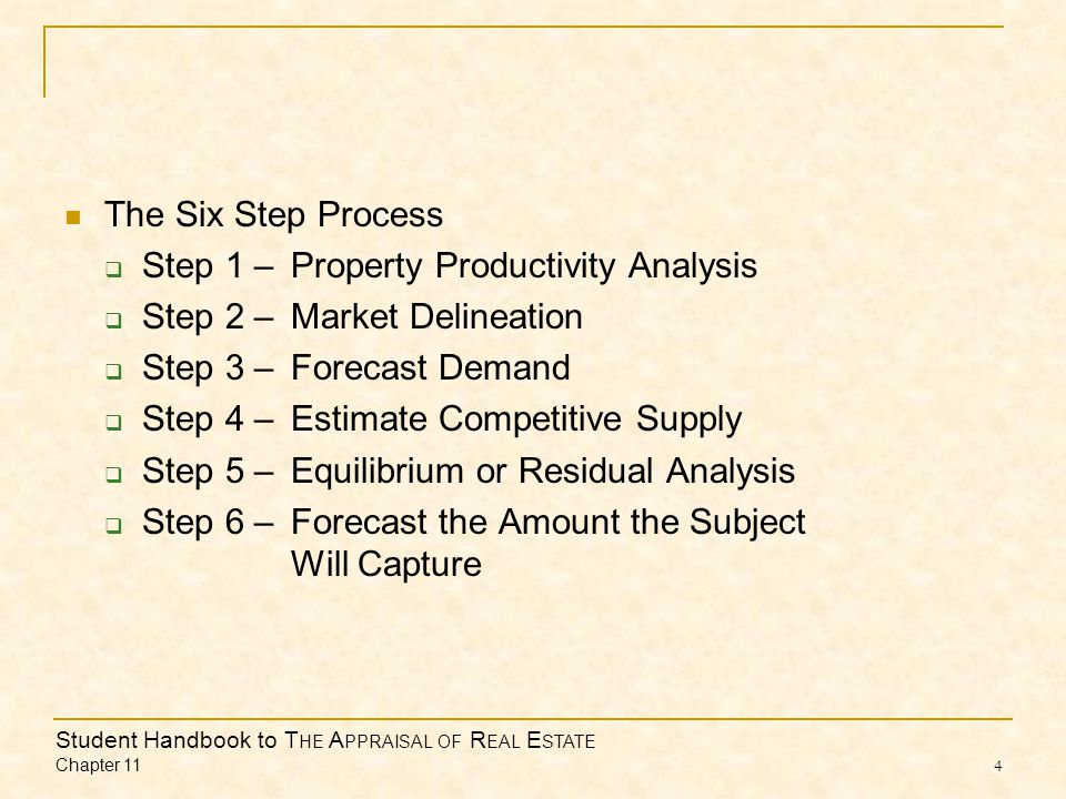 Student Handbook to T HE A PPRAISAL OF R EAL E STATE Chapter 11 4 The Six Step Process  Step 1 –Property Productivity Analysis  Step 2 –Market Delineation  Step 3 –Forecast Demand  Step 4 –Estimate Competitive Supply  Step 5 –Equilibrium or Residual Analysis  Step 6 –Forecast the Amount the Subject Will Capture