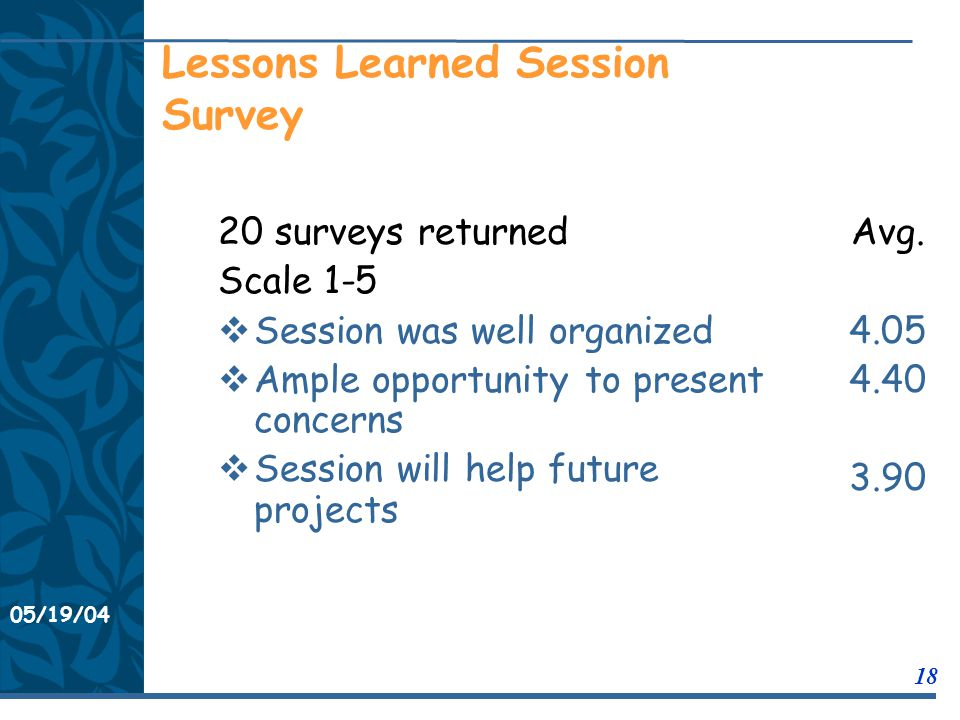 05/19/04 18 11/21/0311/21/03 Lessons Learned Session Survey 20 surveys returned Scale 1-5  Session was well organized  Ample opportunity to present concerns  Session will help future projects Avg.