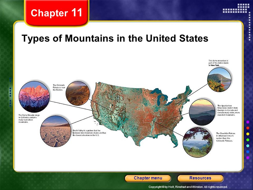 Copyright © by Holt, Rinehart and Winston. All rights reserved. ResourcesChapter menu Types of Mountains in the United States Chapter 11