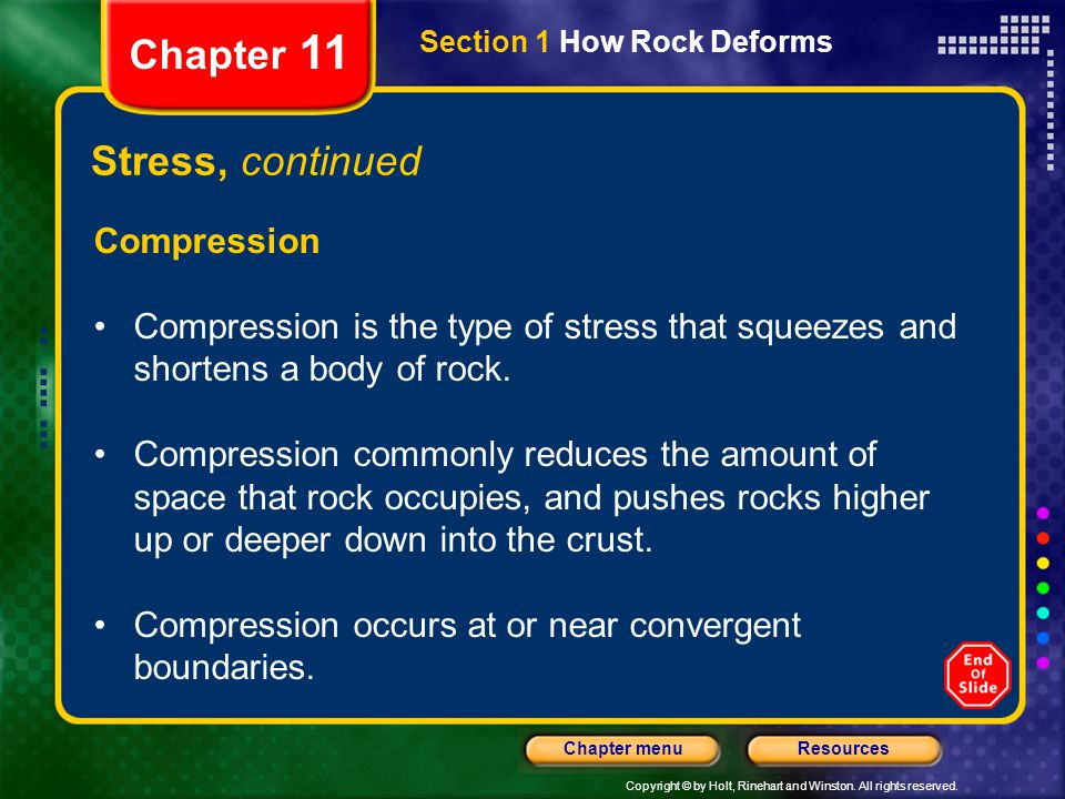 Copyright © by Holt, Rinehart and Winston. All rights reserved. ResourcesChapter menu Section 1 How Rock Deforms Chapter 11 Stress, continued Compress