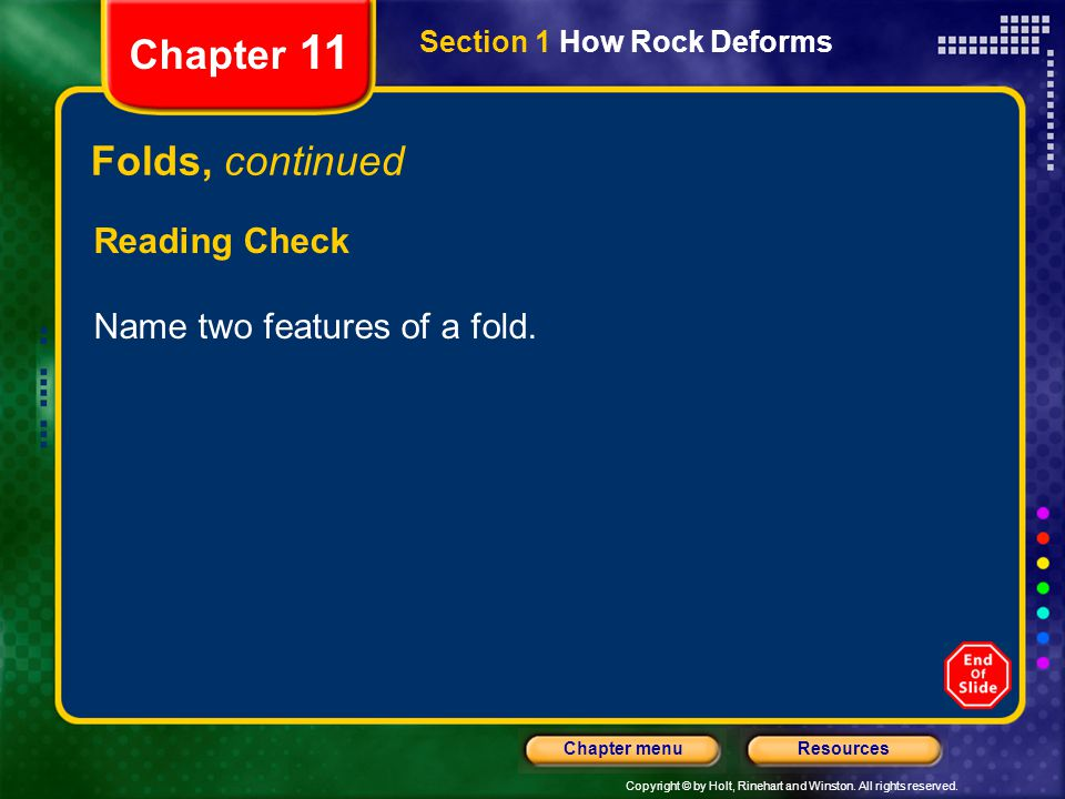 Copyright © by Holt, Rinehart and Winston. All rights reserved. ResourcesChapter menu Section 1 How Rock Deforms Chapter 11 Folds, continued Reading C