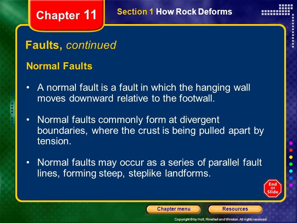 Copyright © by Holt, Rinehart and Winston. All rights reserved. ResourcesChapter menu Section 1 How Rock Deforms Chapter 11 Faults, continued Normal F