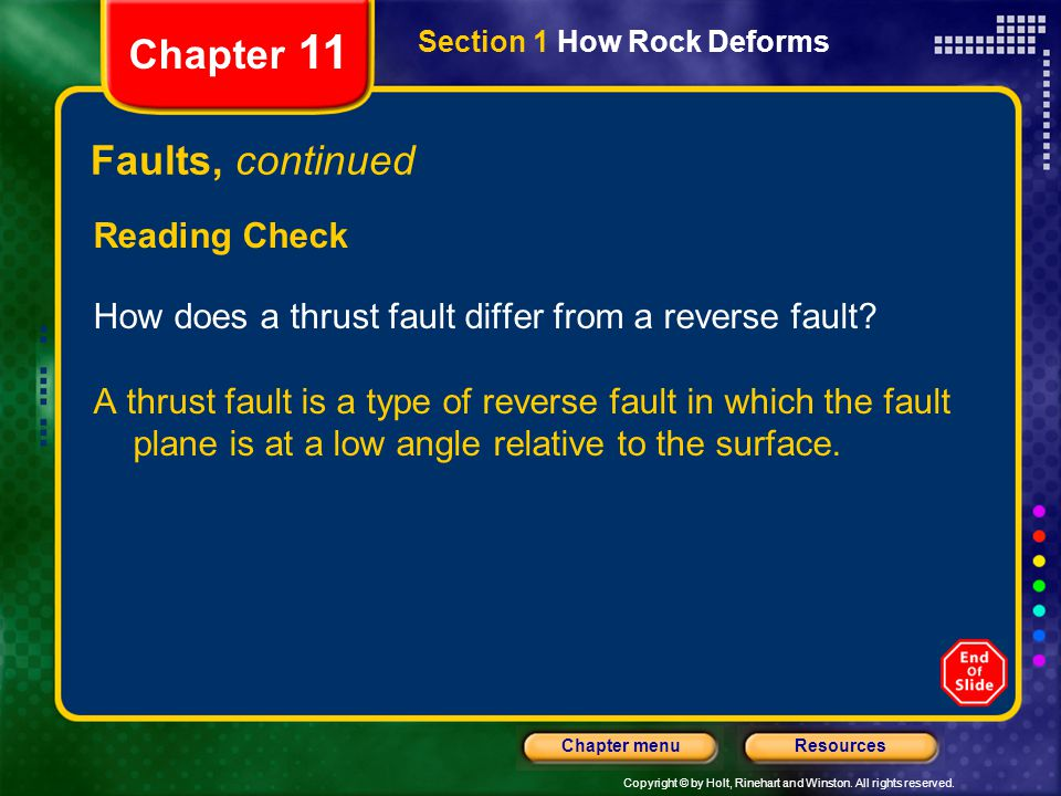Copyright © by Holt, Rinehart and Winston. All rights reserved. ResourcesChapter menu Section 1 How Rock Deforms Chapter 11 Faults, continued Reading