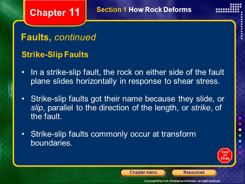 Copyright © by Holt, Rinehart and Winston. All rights reserved. ResourcesChapter menu Section 1 How Rock Deforms Chapter 11 Faults, continued Strike-S