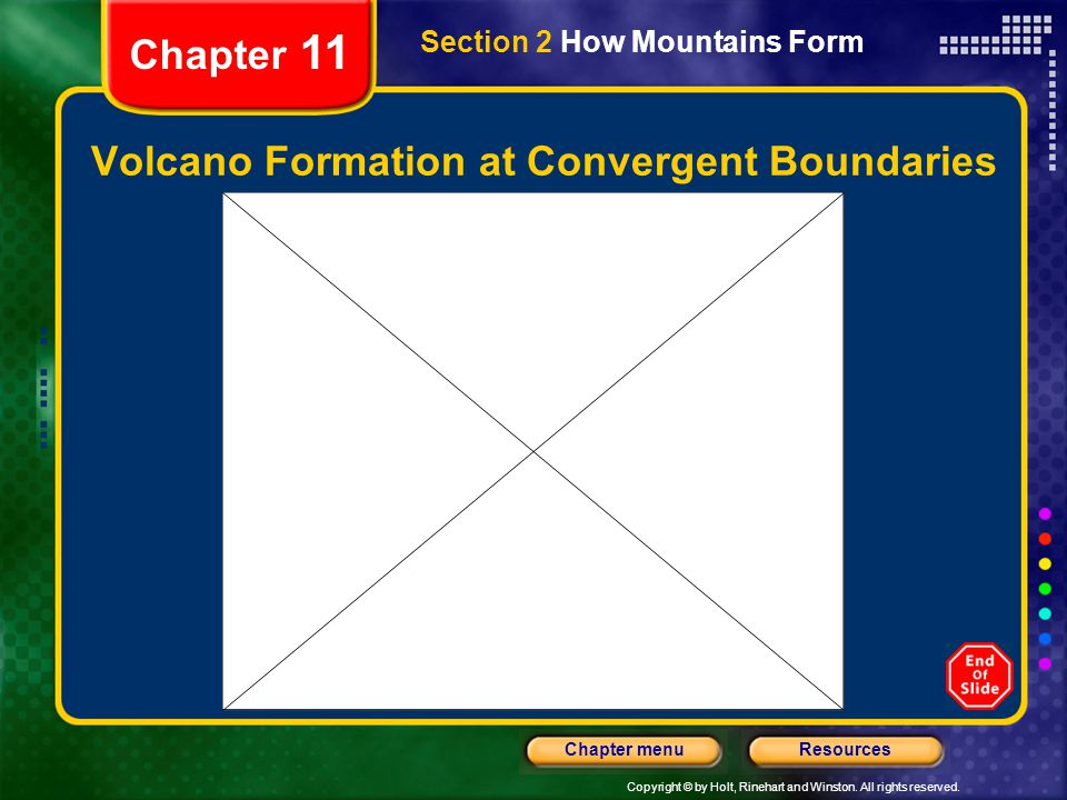Copyright © by Holt, Rinehart and Winston. All rights reserved. ResourcesChapter menu Chapter 11 Volcano Formation at Convergent Boundaries Section 2