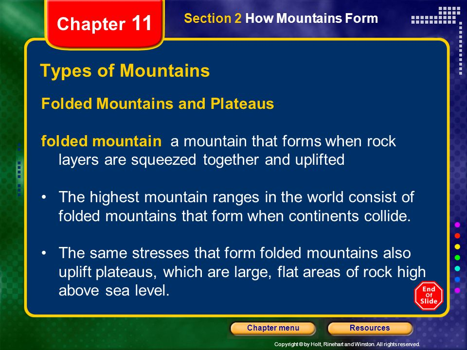 Copyright © by Holt, Rinehart and Winston. All rights reserved. ResourcesChapter menu Section 2 How Mountains Form Chapter 11 Types of Mountains Folde