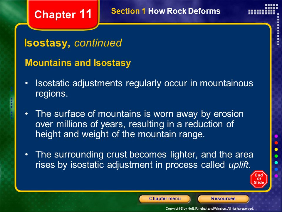 Copyright © by Holt, Rinehart and Winston. All rights reserved. ResourcesChapter menu Section 1 How Rock Deforms Chapter 11 Isostasy, continued Mounta