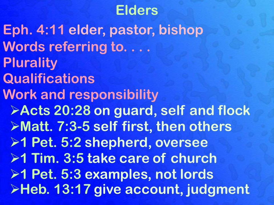 Elders Eph. 4:11 elder, pastor, bishop Words referring to....
