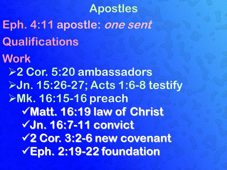 Apostles Eph. 4:11 apostle: one sent Qualifications Work  2 Cor.