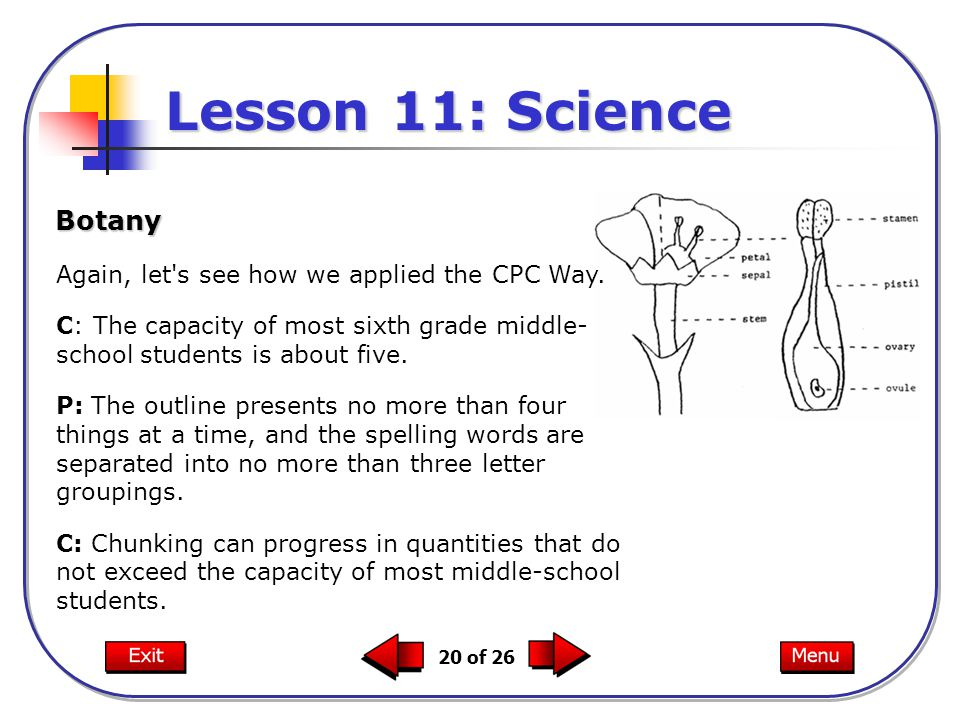 20 of 26 Botany Lesson 11: Science Again, let s see how we applied the CPC Way.