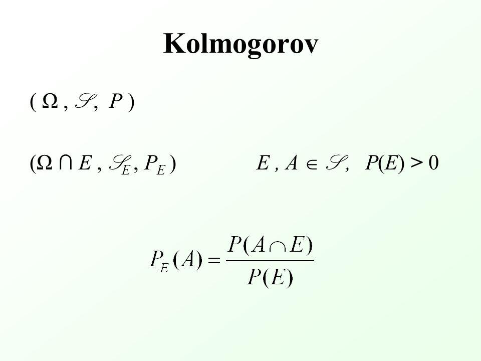 Kolmogorov ( Ω, S, P ) (Ω ∩ E, S E, P E ) E, A  S, P(E) > 0