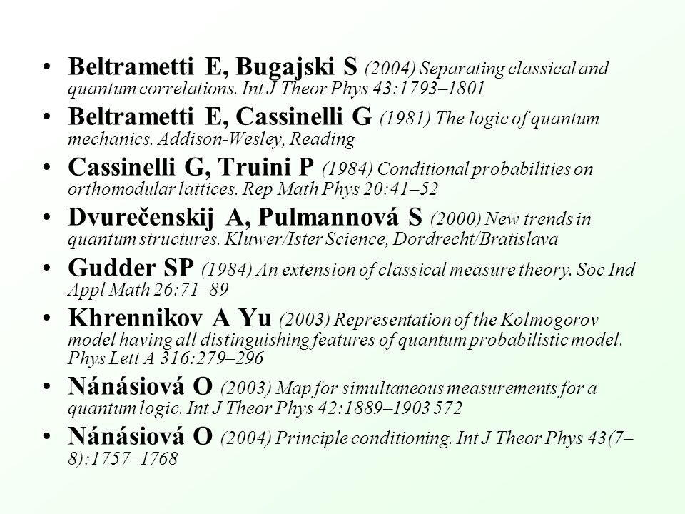 Beltrametti E, Bugajski S (2004) Separating classical and quantum correlations.