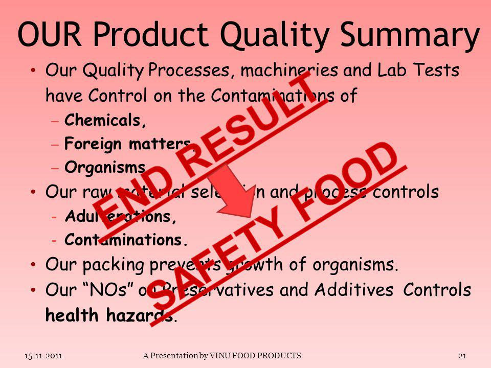 CLASS-II PRESERVATIVES ARTIFICAL FLAVOURS TASTE ENHANCERS ARTIFICIAL COLOURS 20 Our Products & Preservatives 15-11-2011A Presentation by VINU FOOD PRO