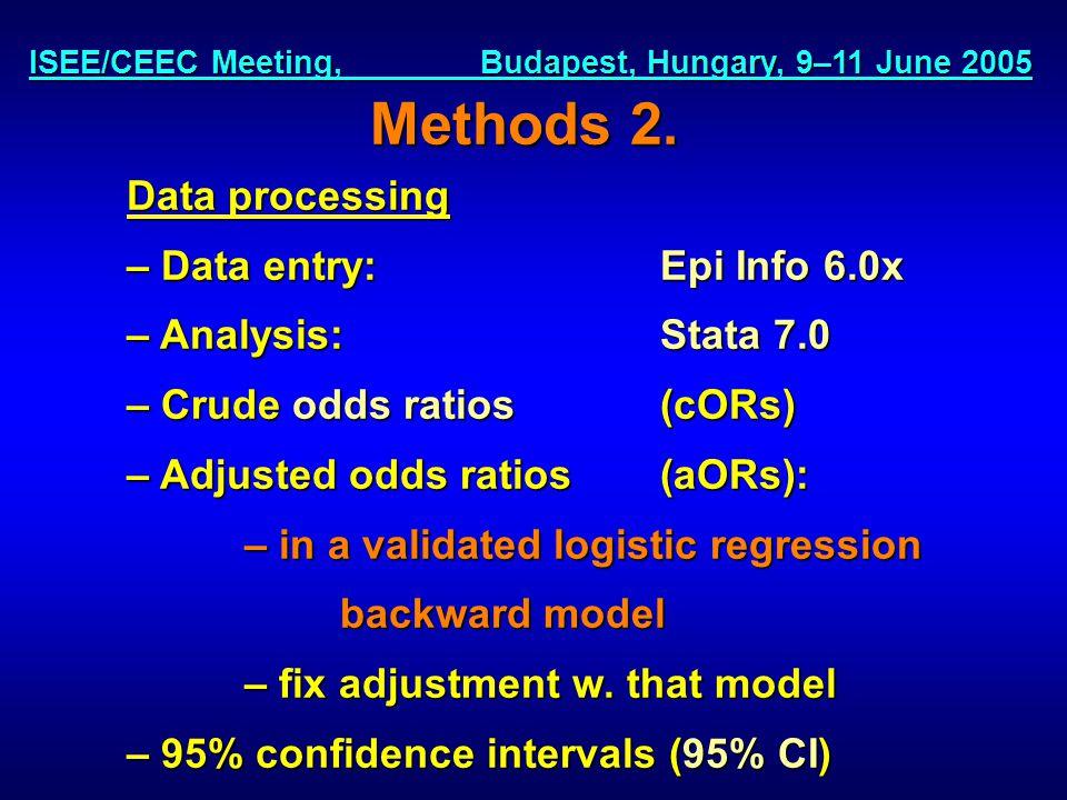 ISEE/CEEC Meeting, Budapest, Hungary, 9–11 June 2005 Methods 2.