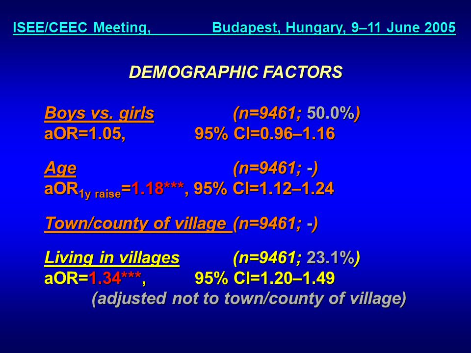 ISEE/CEEC Meeting, Budapest, Hungary, 9–11 June 2005 DEMOGRAPHIC FACTORS Boys vs.