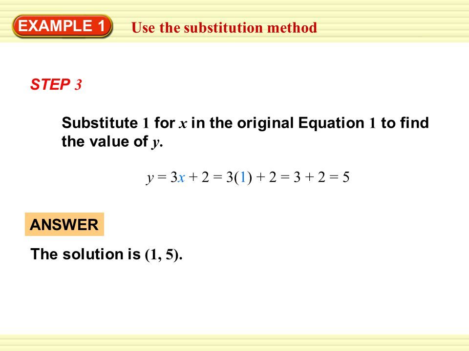 EXAMPLE 1 Use the substitution method ANSWER The solution is (1, 5). Substitute 1 for x in the original Equation 1 to find the value of y. y = 3x + 2
