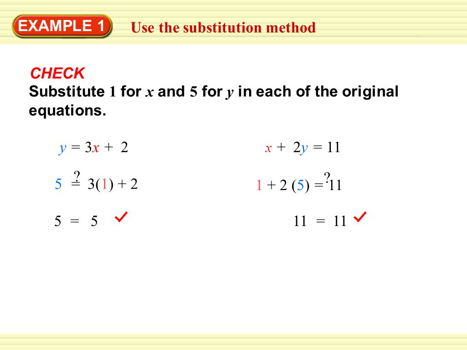 Solve a multi-step problem EXAMPLE 3 Substitute 22.45x for y in Equation 1 and solve for x.