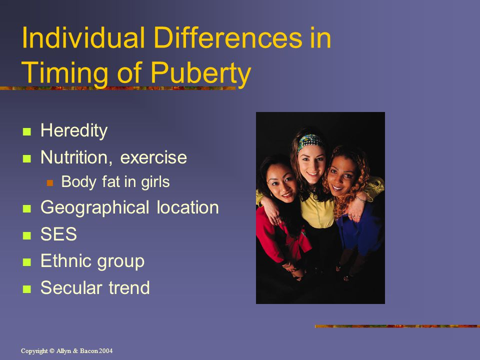 Copyright © Allyn & Bacon 2004 Individual Differences in Timing of Puberty Heredity Nutrition, exercise Body fat in girls Geographical location SES Et