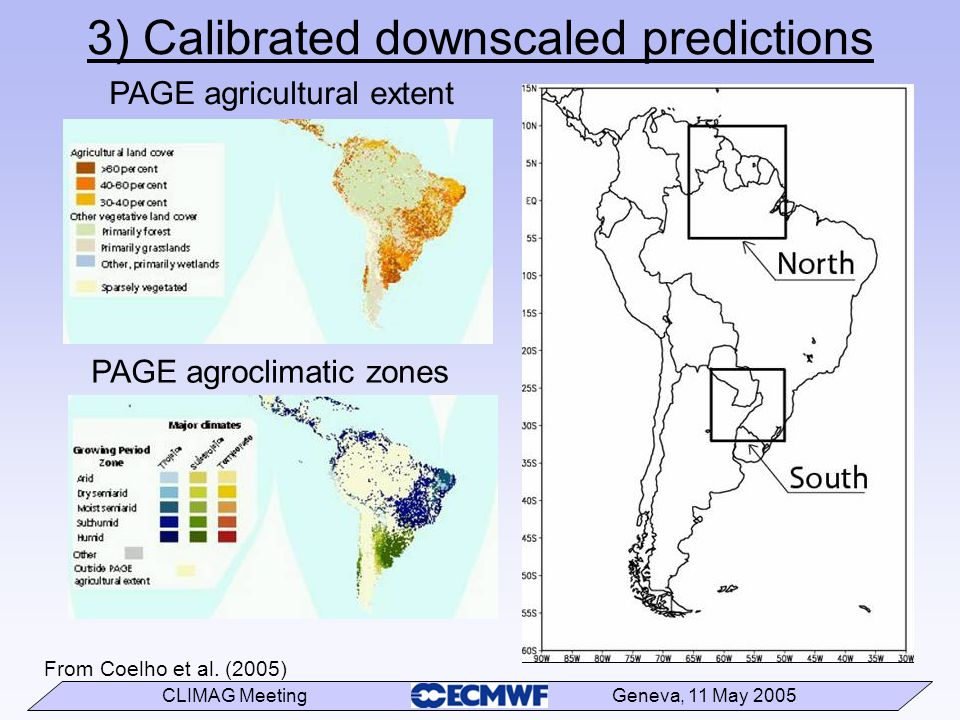CLIMAG Meeting Geneva, 11 May 2005 From Coelho et al. (2005) 3) Calibrated downscaled predictions PAGE agricultural extent PAGE agroclimatic zones