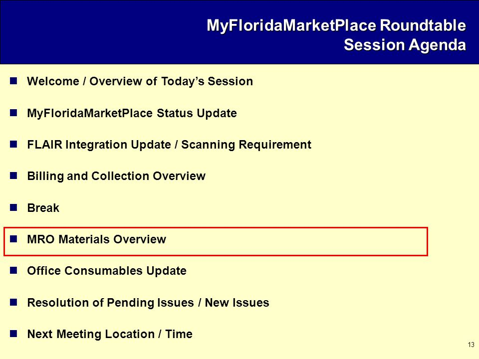 13 Welcome / Overview of Today's Session MyFloridaMarketPlace Status Update FLAIR Integration Update / Scanning Requirement Billing and Collection Ove