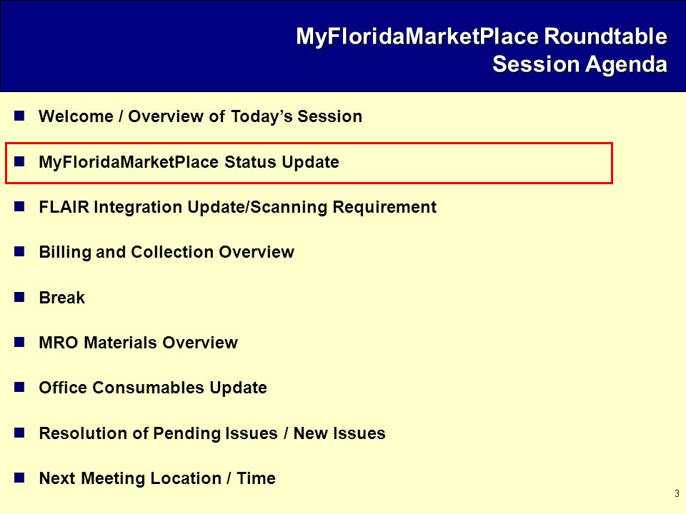 4 MyFloridaMarketPlace Project Statistics  Vendors Registered :  27,518 vendors registered in MyFloridaMarketPlace as of 11/07/03  32% of vendors registered are CMBE/MBE  50% registered for eQuote  43% registered for Sourcing; 64% registered with a commodity code  <1% registered for Ariba Supplier Network (e-Invoicing)  Initial Agencies (DMS, STO, DOT, Citrus, DOH, DJJ):  Approximately 3,800 users across 6 agencies  4,143 requisitions and 3,719 Purchase Orders issued for $67,239,000 through 11/07/03  Sourcing: 20 formal bid events open with 7 awarded  eQuote: 115 items awarded for a total of $623,695 or an average of $16,718 per quote through 10/31  Contracts/Catalogs:  555 Contracts Loaded  543 Catalogs Loaded  30,130 SKUs Loaded