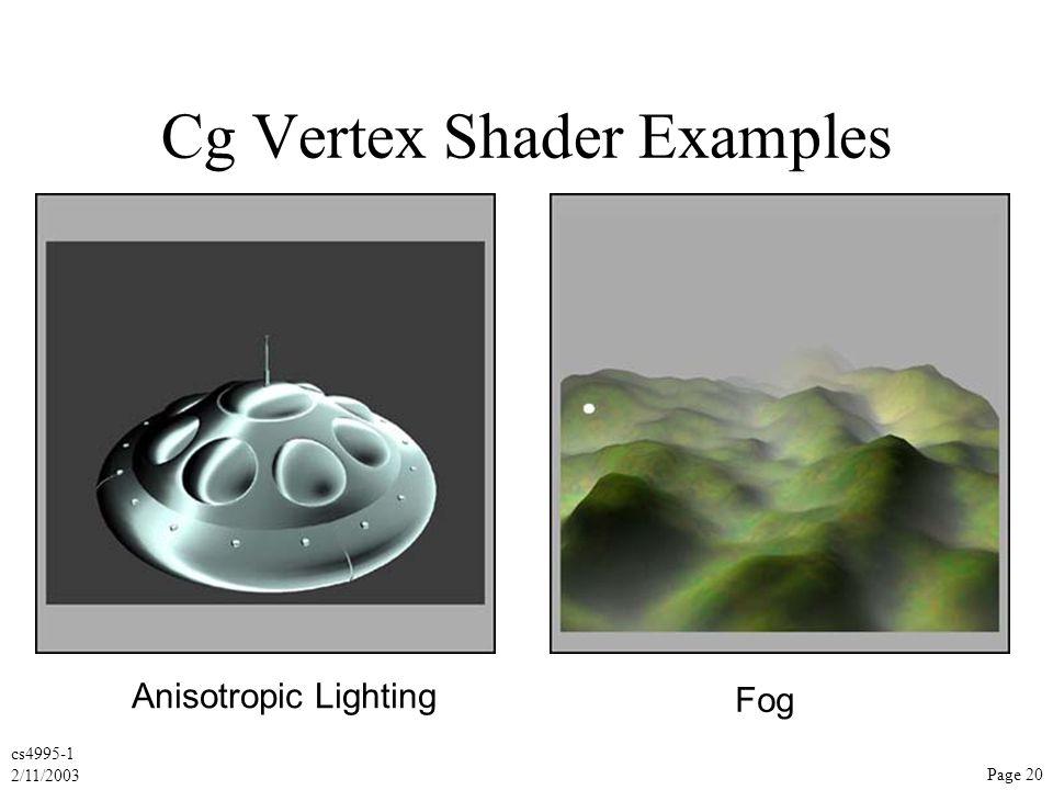cs4995-1 2/11/2003 Page 20 Cg Vertex Shader Examples Anisotropic Lighting Fog