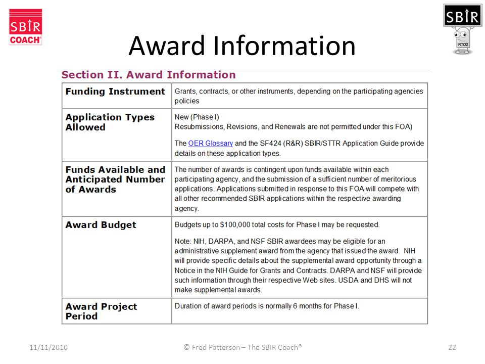 Award Information 11/11/2010© Fred Patterson – The SBIR Coach®22