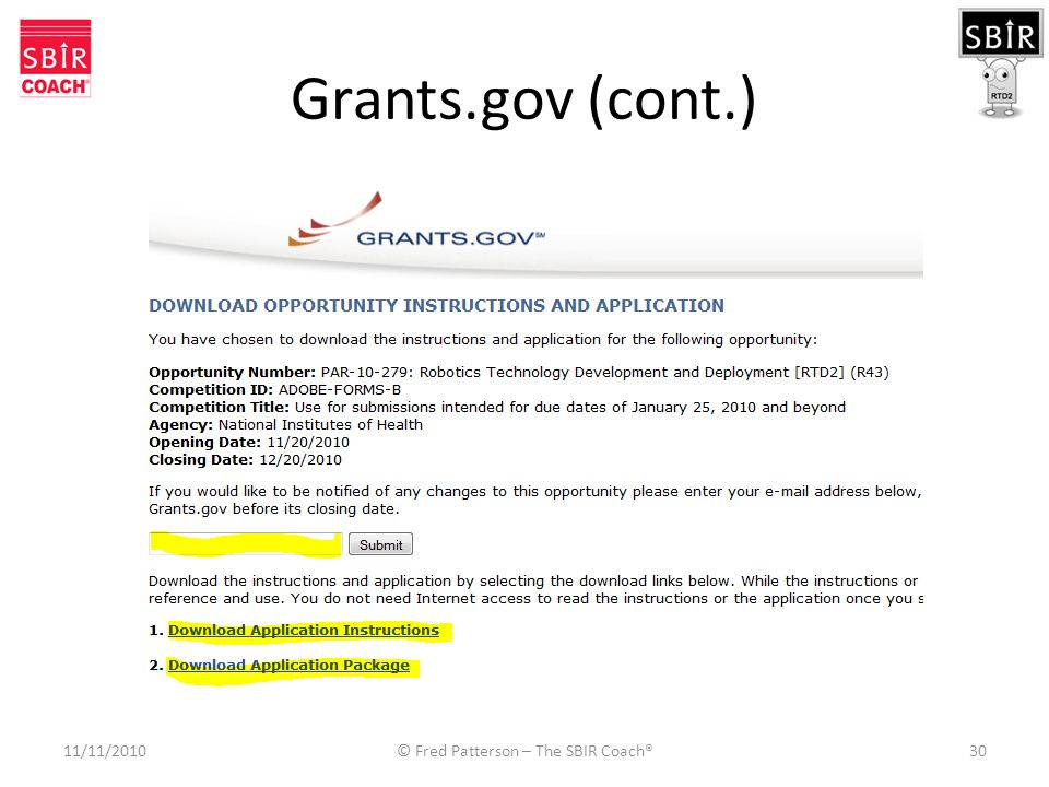 Grants.gov (cont.) 11/11/2010© Fred Patterson – The SBIR Coach®30