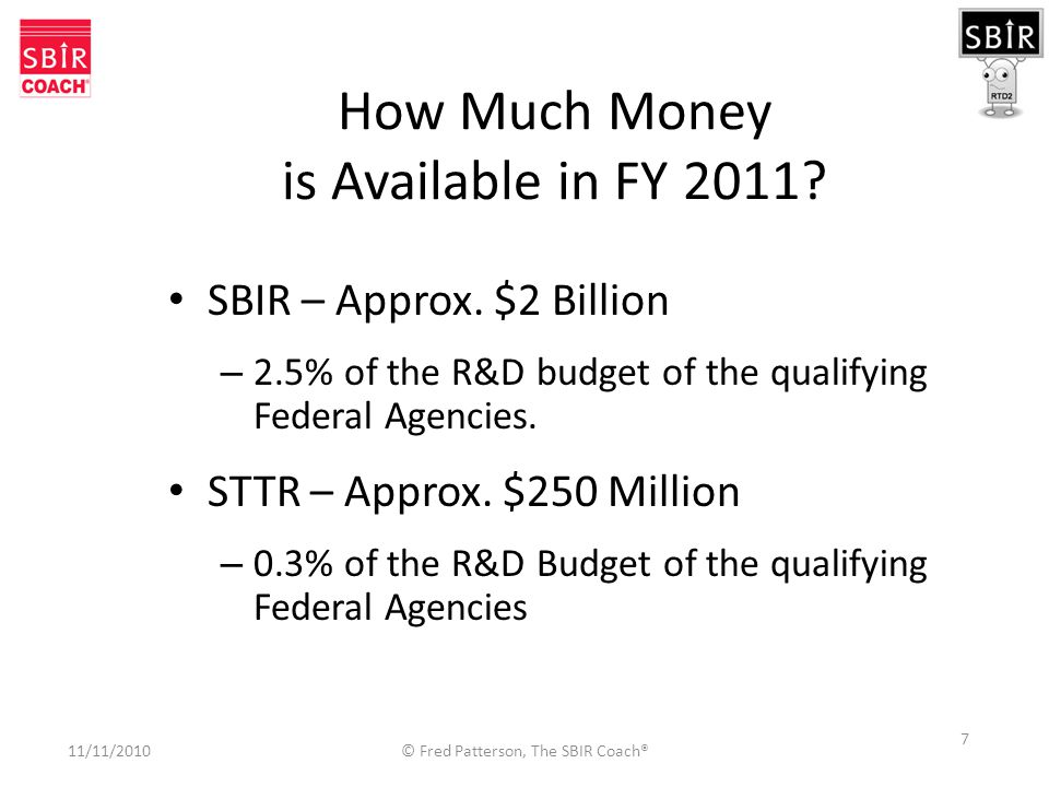 7 How Much Money is Available in FY 2011. SBIR – Approx.