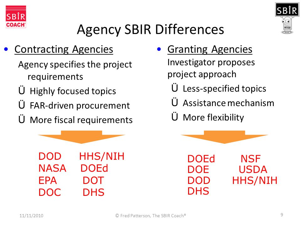 9 Agency SBIR Differences Granting Agencies Investigator proposes project approach Ü Less-specified topics Ü Assistance mechanism Ü More flexibility DOD HHS/NIH NASA DOEd EPA DOT DOC DHS Contracting Agencies Agency specifies the project requirements Ü Highly focused topics Ü FAR-driven procurement Ü More fiscal requirements DOEd NSF DOE USDA DOD HHS/NIH DHS