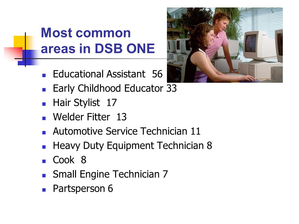 Most common areas in DSB ONE Educational Assistant 56 Early Childhood Educator 33 Hair Stylist 17 Welder Fitter 13 Automotive Service Technician 11 Heavy Duty Equipment Technician 8 Cook 8 Small Engine Technician 7 Partsperson 6