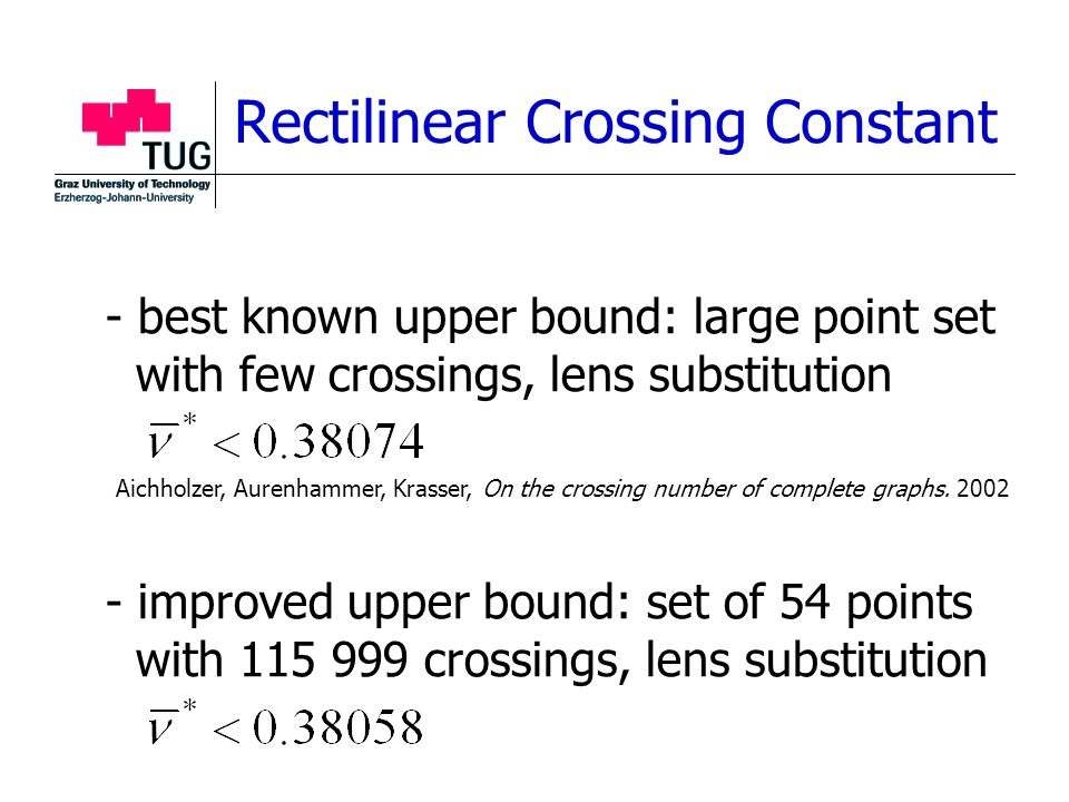 - best known upper bound: large point set with few crossings, lens substitution - improved upper bound: set of 54 points with 115 999 crossings, lens