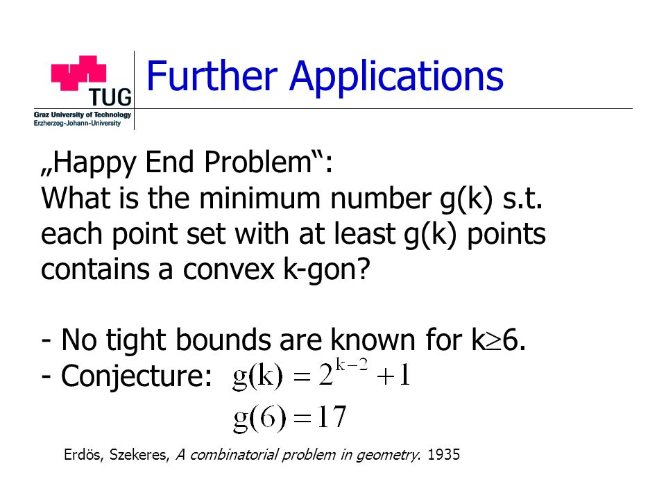 "Further Applications ""Happy End Problem"": What is the minimum number g(k) s.t. each point set with at least g(k) points contains a convex k-gon? - No"