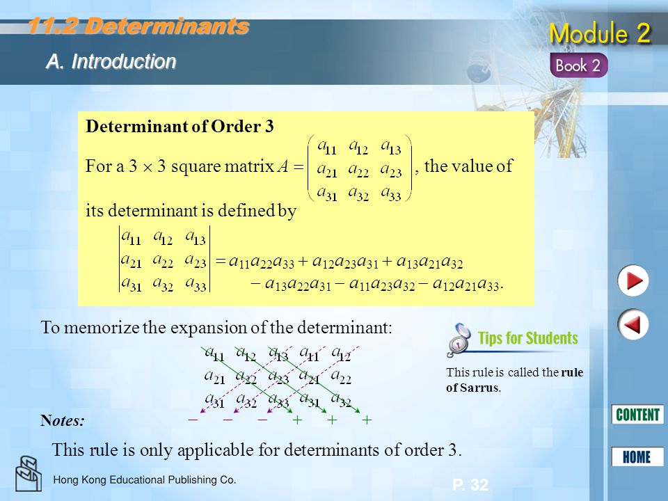 P. 32 To memorize the expansion of the determinant:  This rule is only applicable for determinants of order 3. Notes: This rule is called