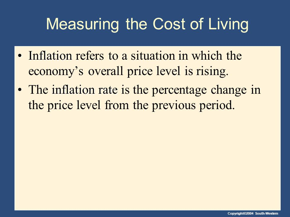 Copyright©2004 South-Western THE CONSUMER PRICE INDEX The consumer price index (CPI) is a measure of the overall cost of the goods and services bought by a typical consumer.