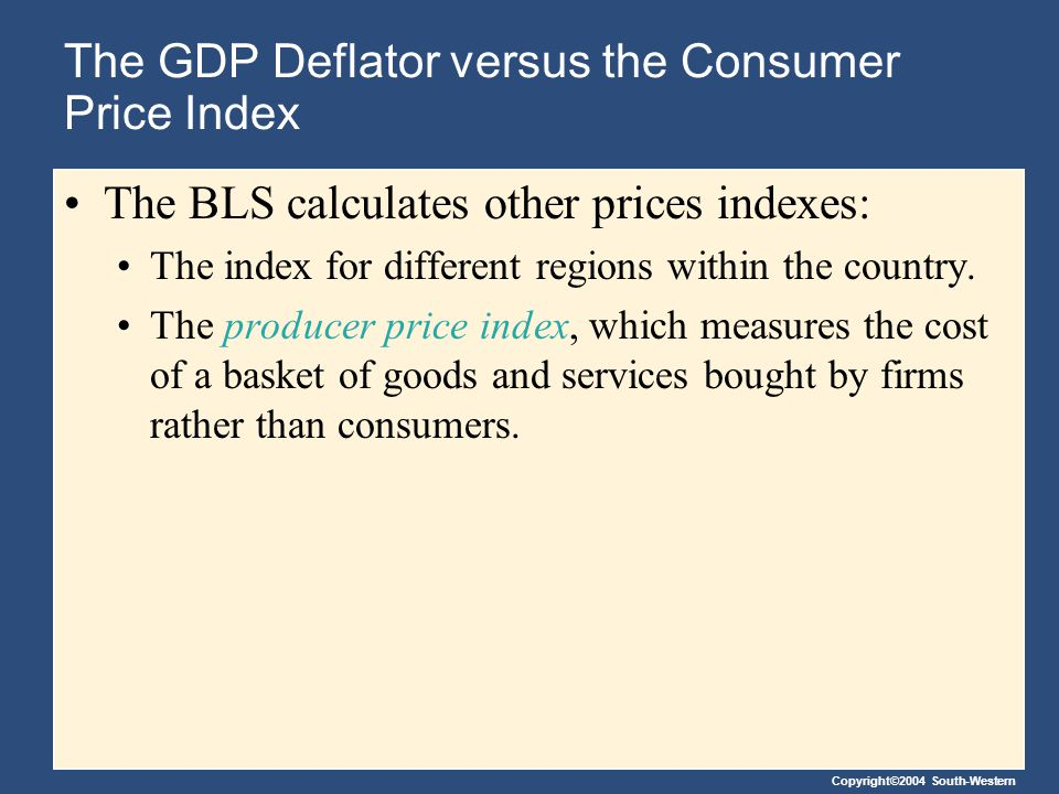 Copyright©2004 South-Western The GDP Deflator versus the Consumer Price Index The BLS calculates other prices indexes: The index for different regions within the country.