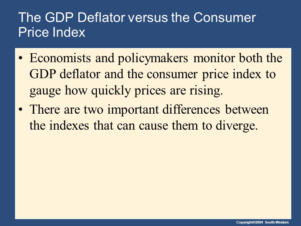 Copyright©2004 South-Western The GDP Deflator versus the Consumer Price Index Economists and policymakers monitor both the GDP deflator and the consumer price index to gauge how quickly prices are rising.