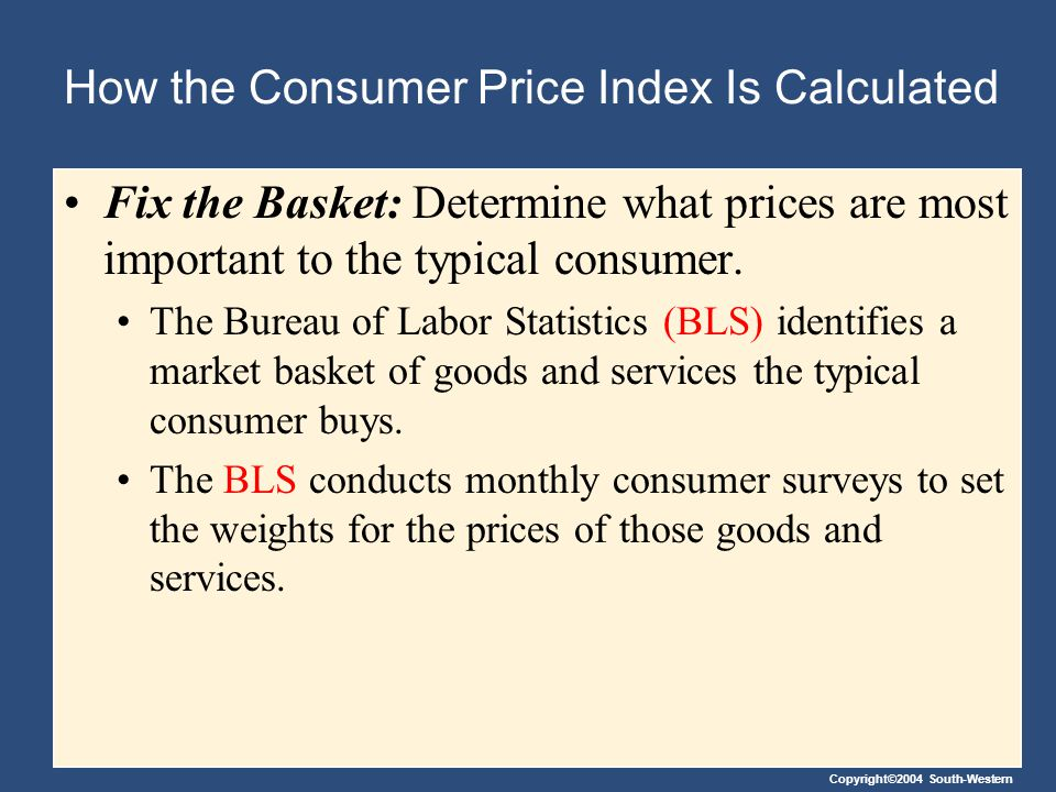 Copyright©2004 South-Western How the Consumer Price Index Is Calculated Find the Prices: Find the prices of each of the goods and services in the basket for each point in time.