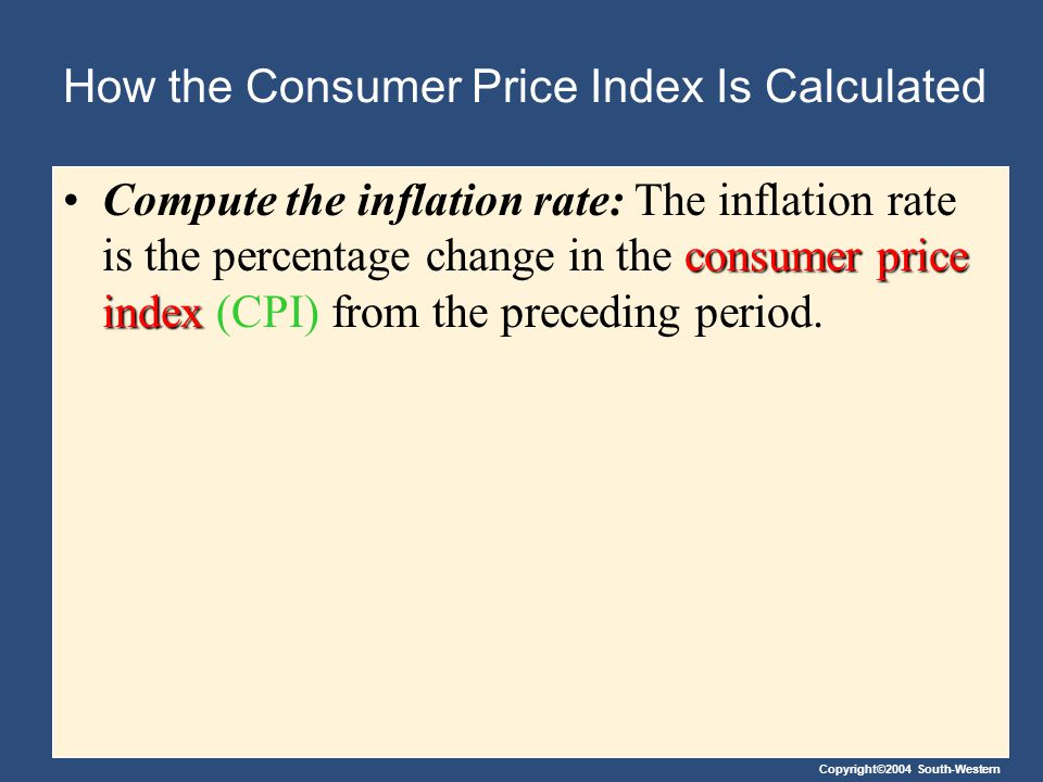 Copyright©2004 South-Western How the Consumer Price Index Is Calculated The Inflation Rate The inflation rate is calculated as follows: