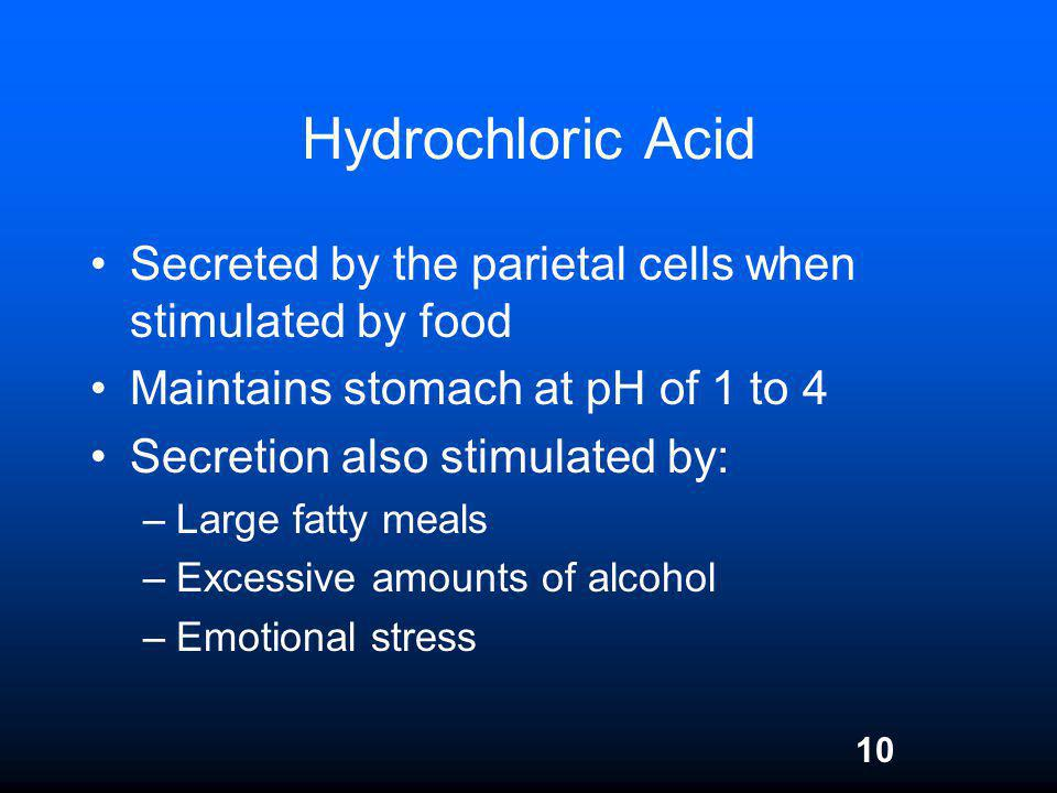 10 Hydrochloric Acid Secreted by the parietal cells when stimulated by food Maintains stomach at pH of 1 to 4 Secretion also stimulated by: –Large fat