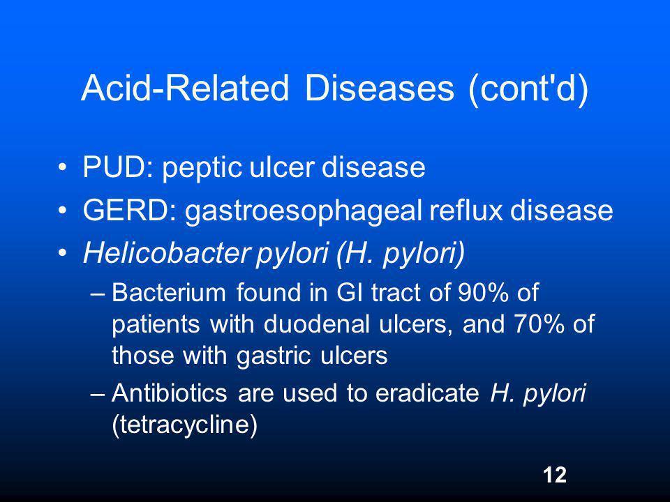 12 Acid-Related Diseases (cont'd) PUD: peptic ulcer disease GERD: gastroesophageal reflux disease Helicobacter pylori (H. pylori) –Bacterium found in