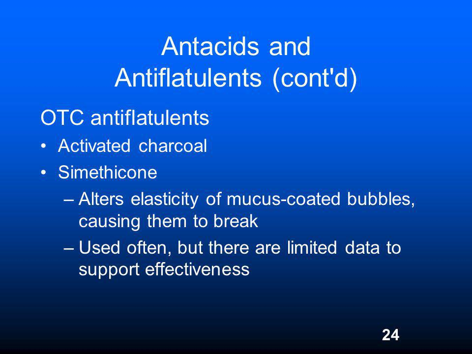 24 Antacids and Antiflatulents (cont'd) OTC antiflatulents Activated charcoal Simethicone –Alters elasticity of mucus-coated bubbles, causing them to