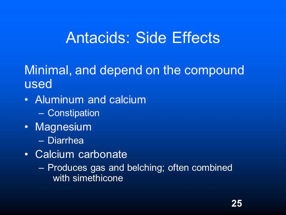 25 Antacids: Side Effects Minimal, and depend on the compound used Aluminum and calcium –Constipation Magnesium –Diarrhea Calcium carbonate –Produces