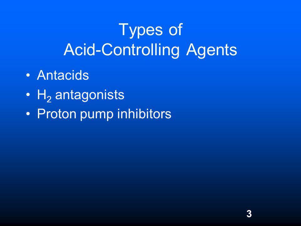 3 Types of Acid-Controlling Agents Antacids H 2 antagonists Proton pump inhibitors