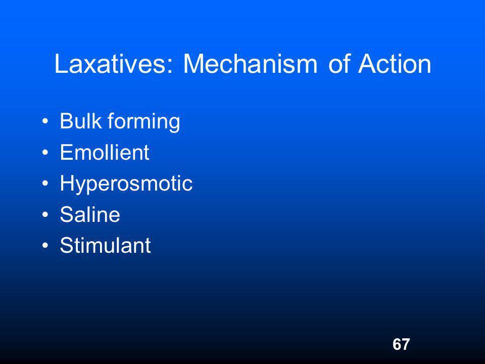 67 Laxatives: Mechanism of Action Bulk forming Emollient Hyperosmotic Saline Stimulant