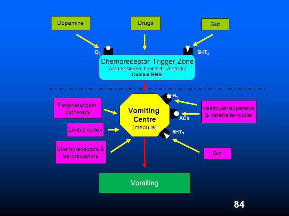 84 Vomiting Chemoreceptor Trigger Zone (Area Postrema, floor of 4 th ventricle) Outside BBB 5HT 3 D2D2 DopamineDrugs Gut Vestibular apparatus & cerebe